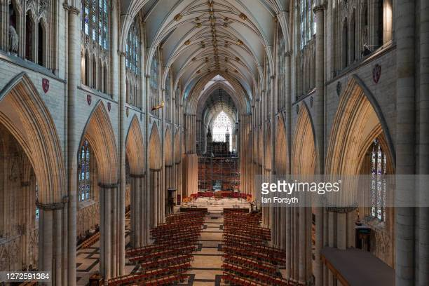 Newly restored pipes for the York Minster organ are returned following refurbishment on September 15 2020 in York England The onceinacentury project...