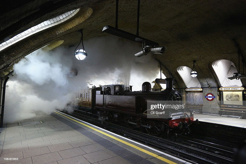A newly restored steam engine built in 1898, known as Met Locomotive No. 1, travels through Baker Street Underground station on December 16, 2012 in London, England. The train took part in a practice run for a commemorative journey to celebrate the 150th anniversary of the inaugural public passenger journey on the London Underground, the world's first underground railway, on January 9, 1863. Met Locomotive No. 1 will retrace the original London Underground journey on a stretch of the Metropolitan Railway on Sunday, January 13, 2013.