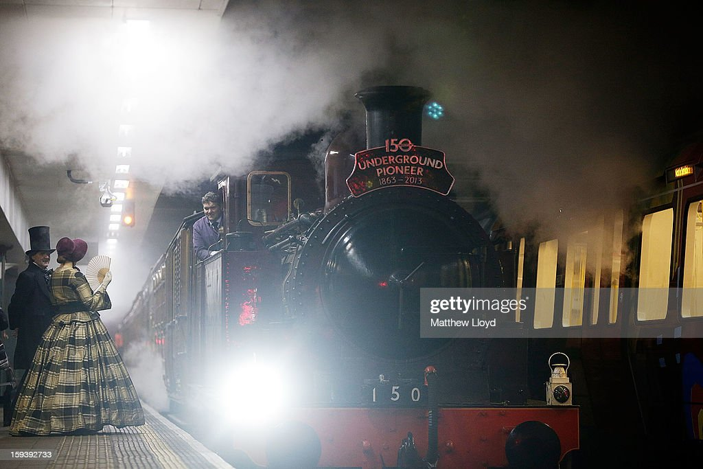 A newly restored steam engine built in 1898, known as Met Locomotive No. 1, arrives at Moorgate station in a recreation of the first London Underground journey on January 13, 2013 in London, England. The London Underground celebrates its 150th birthday this month, the Metropolitan line being the first stretch between Paddington and Farringdon stations.