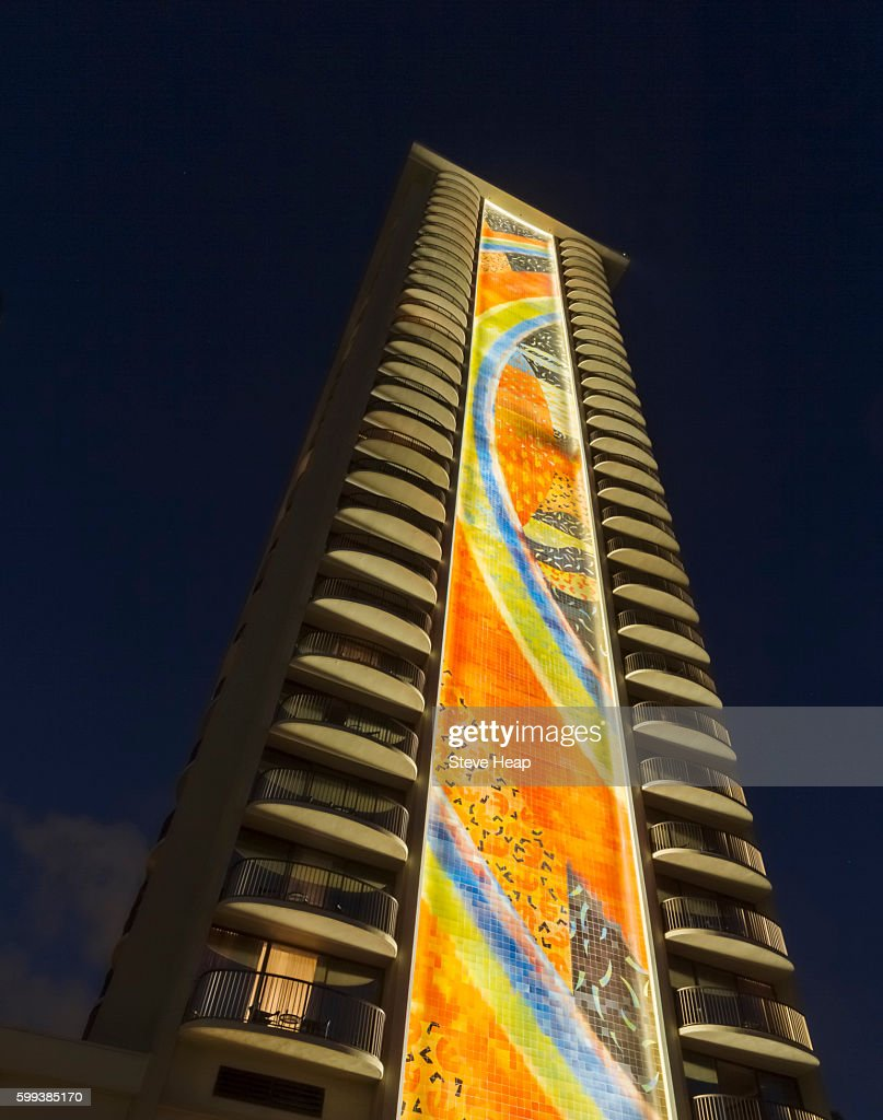 Newly Red Tiling Mural By Millard Sheets On Rainbow Tower At Hilton Hawaiian Village Hotel In