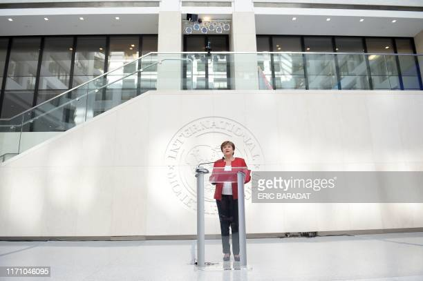 Newly selected International Monetary Fund Managing Director Kristalina Georgieva speaks at a press conference at the IMF headquarters on September...