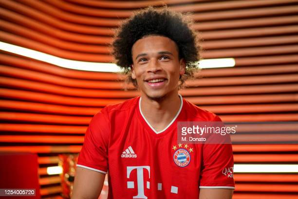 Newly signed FC Bayern Muenchen player Leroy Sane is seen on July 02, 2020 in Munich, Germany.