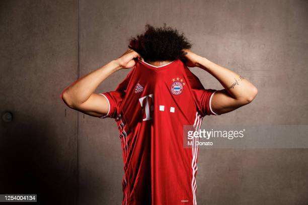 Newly signed FC Bayern Muenchen player Leroy Sane poses for a picture at Saebener Strasse training ground on July 02, 2020 in Munich, Germany.