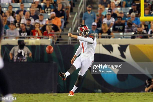 Newly signed kicker Zach Hocker of the Buccaneers kicks off during the NFL Preseason game between the Buccaneers at Jaguars on AUG 17 2017 at...