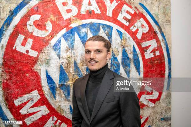 Newly signed Player of FC Bayern Muenchen Marcel Sabitzer is seen prior his contract signing with FC Bayern Muenchen at Saebener Strasse training...