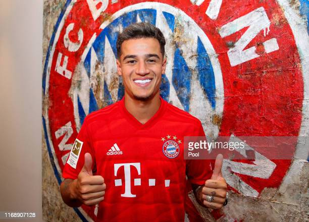 Newly signed player Philippe Coutinho of FC Bayern Muenchen poses for a picture at Saebener Strasse training ground on August 13, 2019 in Munich,...
