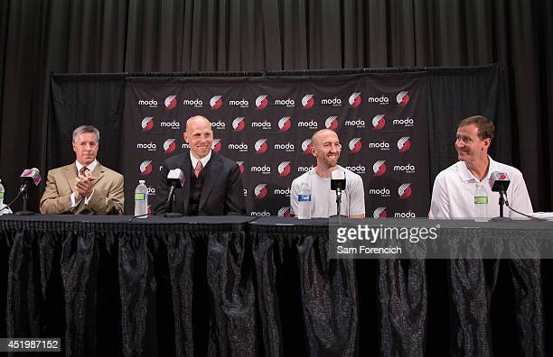 Newly signed Portland Trail Blazer players Chris Kaman and Steve Blake are introduced to the media by General Manager Neil Olshey and Head Coach...