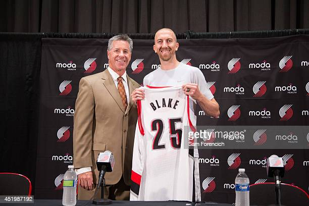 Newly signed Portland Trail Blazer Steve Blake is introduced to the media by General Manager Neil Olshey July 10 2014 at the Trail Blazer Practice...