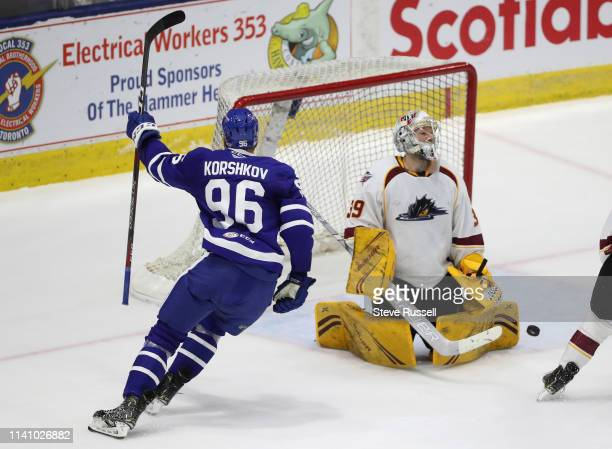 TORONTO ON MAY 3 Newly signed Toronto Marlies forward Egor Korshkov scores his first AHL goal getting the puck past Cleveland Monsters goaltender...