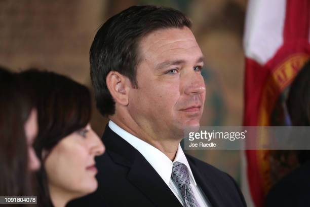 Newly swornin Gov Ron DeSantis attends an event at the Freedom Tower where he named Barbara Lagoa to the Florida Supreme Court on January 09 2019 in...