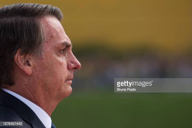Newly swornin President of Brazil Jair Bolsonaro cries after the Presidential Inauguration Ceremony at National Congress on January 1 2019 in...