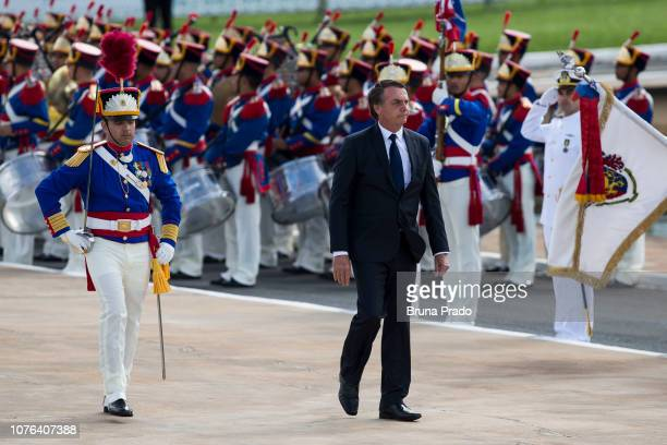 Newly swornin President of Brazil Jair Bolsonaro is recognized as commanderinchief of the Brazilian Armed Forces as part of Brazil's Presidential...