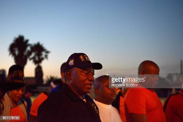 Newly swornin South African president Cyril Ramaphosa walks on an early morning from Guguletu township to Athlone Stadium a distance of about 5Km to...