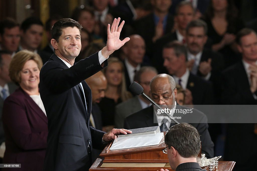 Newly sworn-in Speaker of the House Paul Ryan (R-WI) waves to colleagues after his election to the leadership position October 29, 2015 in Washington, DC. The House elected Ryan (R-WI) as the 62nd Speaker of the House, replacing Rep. John Boehner (R-OH).