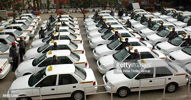 Newly trained Drivers of Easycab a radiodispatched taxi sevice backed by Carzonrent the Indian arm of Hertz International a car rental company at the...