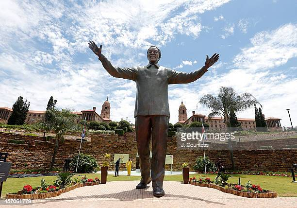 Newly unveiled statue of former South African President Nelson Mandela at the Union Buildings on December 16, 2013 in Pretoria, South Africa. The...