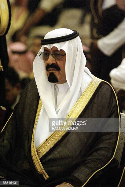 Newlyanointed Saudi King Abdullah attends the funeral of his halfbrother the late King Fahd at the Imam Turki bin Abdullah mosque in Riyadh 02 August...