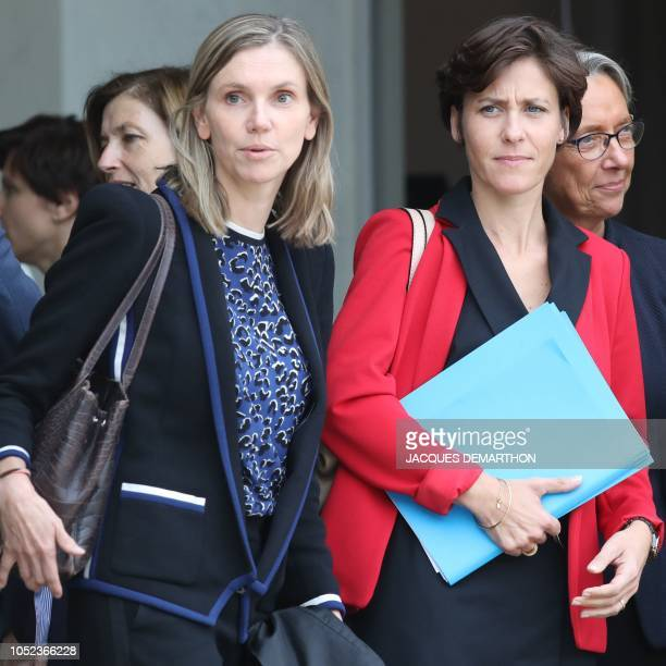 Newly-appointed French deputy minister to the Health and solidarity minister Christelle Dubos and newly-appointed French deputy minister to the...