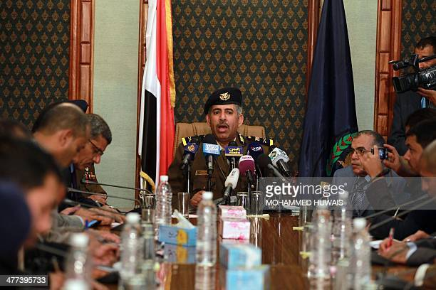 Newlyappointed Interior minister Abdo Tareb speaks during a press conference on March 9 2014 in the capital Sanaa to announce new security measures...