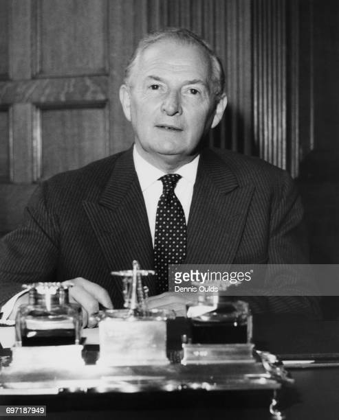Newlyappointed Lord Privy Seal and Leader of the House of Commons Selwyn Lloyd at his desk at the treasury in London 22nd October 1963