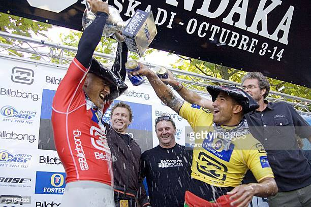 Newlycrowned eighth Fosters Men's ASP World Champion Kelly Slater of Cocoa Beach Florida celebrates with rookie Bobby Martinez of Santa Barbara...