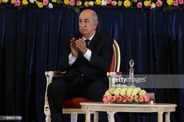 Newlyelected Algerian President Abdelmadjid Tebboune gestures during swearingin ceremony in Algiers Algeria 19 December 2019 Tebboune was elected to...