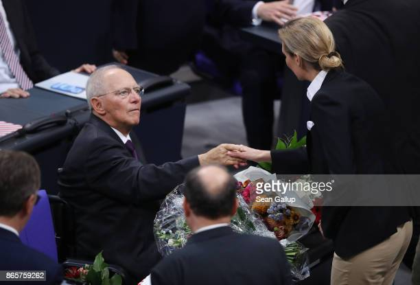 Newlyelected Bundestag President Wolfgang Schaeuble receives the congratulations of Alice Weidel of the rightwing Alternative for Germany and other...