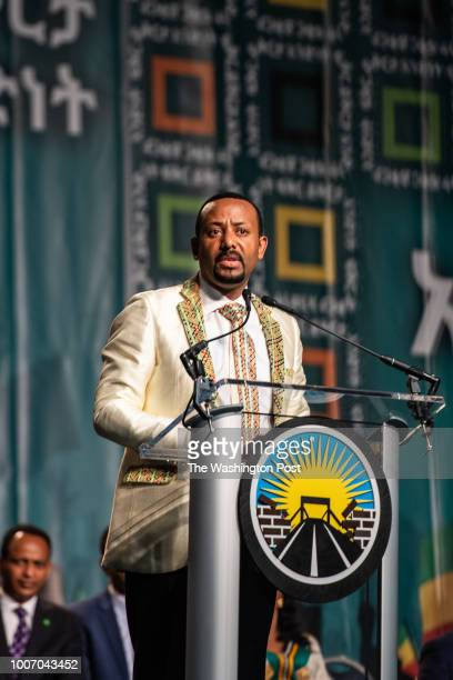 Newlyelected Ethiopian Prime Minister Dr Abiy Ahmed speaks at Walter E Washington Convention Center on Saturday July 28 in Potomac DC