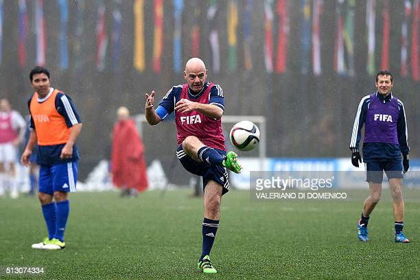Newly-elected FIFA president Gianni Infantino plays during a football match on February 29, 2016 at the FIFA headquarters in Zurich. Gianni Infantino...