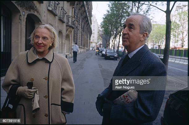 Newlyelected French prime minister Edouard Balladur appears with his wife MarieJosephe in Paris during the second round of the 1993 legislative...
