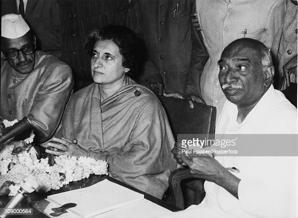 Newlyelected Indian Prime Minister Indira Gandhi at the first meeting af Parliament since her election New Delhi January 1966 With her are acting...