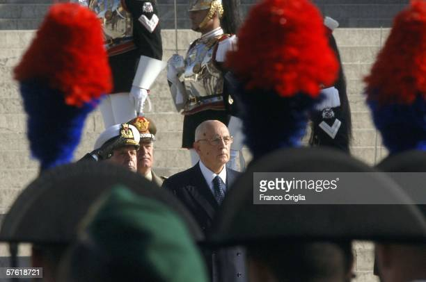 Newlyelected Italian President Giorgio Napolitano pays homage to the Unknown Soldier's monument before reaching the Quirinale Italian Presidential...
