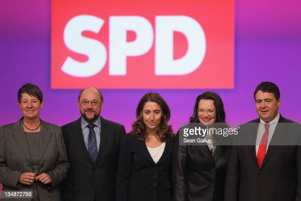 Newlyelected leaders of the German Social Democrats including Treasurer Barbara Hendricks European Parliament representative Martin Schulz coDeputy...