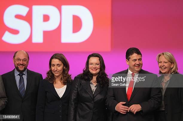 Newlyelected leaders of the German Social Democrats including European Parliament representative Martin Schulz coDeputy Chairwoman Aydan Ozoguz...