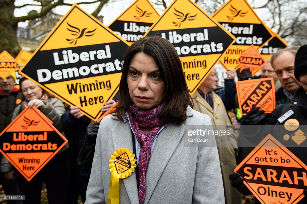 Tim Farron Congratulates Sarah Olney On Her By-election Win : News Photo