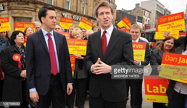 Newlyelected Member of Parliament Dan Jarvis speaks as Leader of Britain's opposition Labour Party Ed Miliband looks on during his visit to Barnsley...