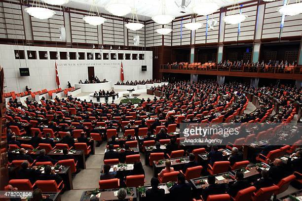 Newlyelected members of Turkish parliament are seen at the Grand National Assembly of Turkey during Turkish parliament's 25th term oathtaking...