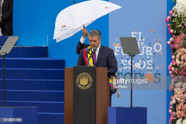 Newlyelected President of Colombia Ivan Duque makes a speech during his oathtaking ceremony at Bolivar Square in Bogota Colombia on August 07 2018
