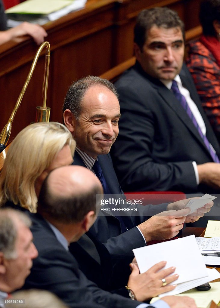 Newly-elected president of the right-wing UMP opposition party, Jean-Francois Cope smiles during the weekly session of questions at the National Assembly on November 20, 2012 in Paris.