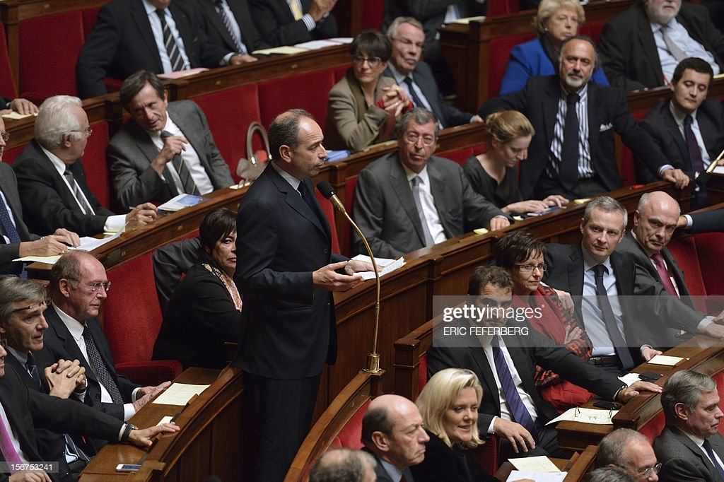 Newly-elected president of the right-wing UMP opposition party, Jean-Francois Cope speaks during the weekly session of questions at the National Assembly on November 20, 2012 in Paris.
