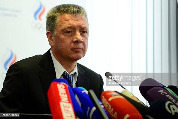 Newlyelected Russia's Athletics Federation president Dmitry Shlyakhtin attends a news conference following a meeting held to hear reports and elect...