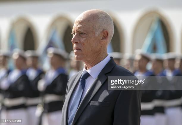 Newly-elected Tunisian President Kais Saied is welcomed with a military ceremony at the Palace of Carthage in Tunis, Tunisia on October 23, 2019...