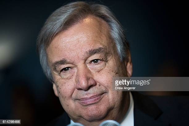 Newly-elected United Nations Secretary General Antonio Guterres delivers brief remarks to the media at the United Nations headquarters on October 13,...