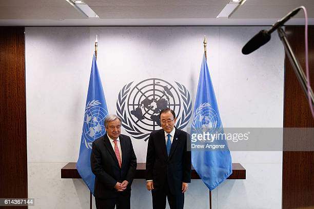 Newlyelected United Nations Secretary Generaldesignate Antonio Guterres and outgoing secretary general Ban Kimoon stand for a photo opportunity at...
