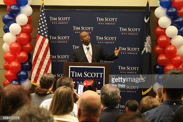 Newly-elected U.S. Sen. Tim Scott addresses the crowd at his victory party at the North Charleston Performing Arts Center in North Charleston, S.C.,...