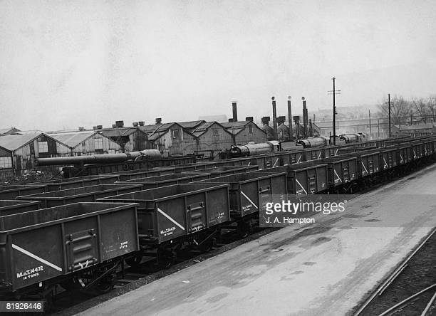 Newlymanufactured steel coal wagons on the sidings outside the Royal Ordnance Factory at Woolwich Arsenal London 5th March 1947 Production of the...