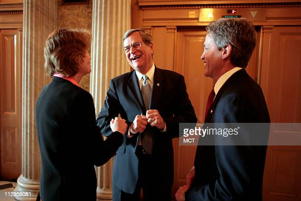 Newlynames Senate Minority Whip Trent Lott center shares a laugh with Senators Lisa Murkowski and Norm Coleman before voting for new republican...