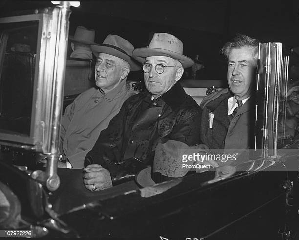 Newlyreelected American President Franklin Delano Roosevelt rides with his outgoing Vice President Henry A Wallace and incoming VP Harry S Truman as...