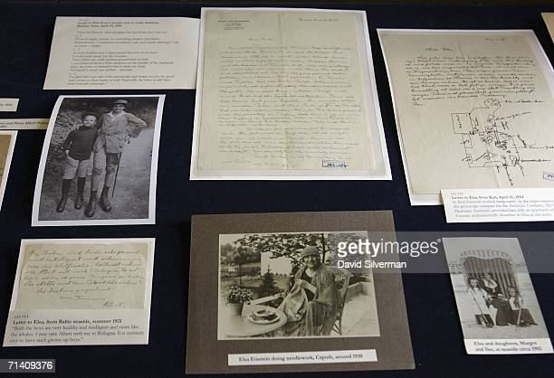 Newlyrevealed letters and photos from the Albert Einstein archive are displayed at a press conference on the Hebrew University campus July 10 2006 in...