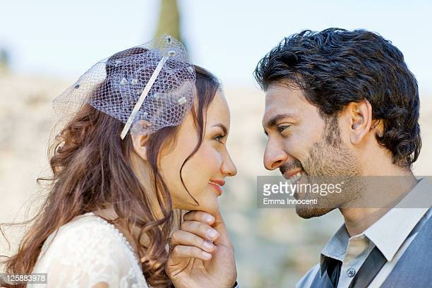Newlywed about to kiss